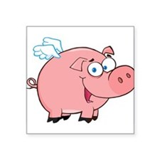 "Flying Pig Square Sticker 3"" x 3"""