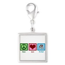 Peace Love Pit Bull Silver Square Charm