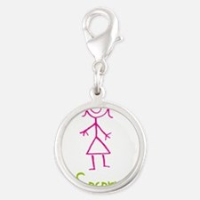 Socorro-cute-stick-girl.png Silver Round Charm