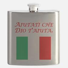 Italian Proverb Help Yourself Flask