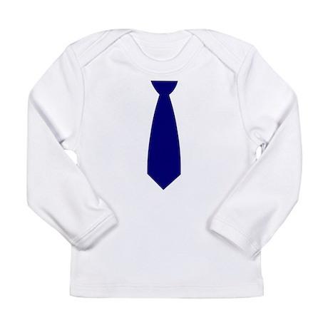 Navy Blue Necktie (Neck Tie) Long Sleeve Infant T-