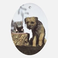 Border Terrier and Rat Ornament (Oval)
