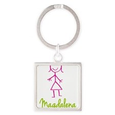 Magdalena-cute-stick-girl.png Square Keychain