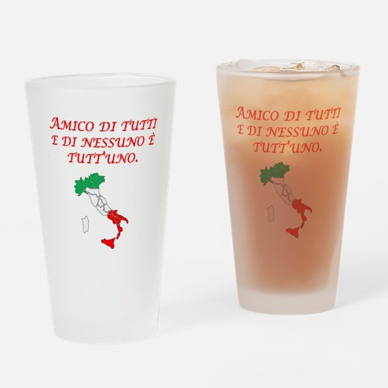 Italian Proverb Friend To All Drinking Glass