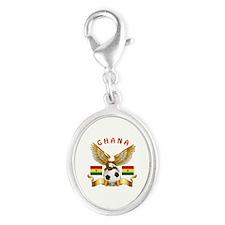 Ghana Football Design Silver Oval Charm