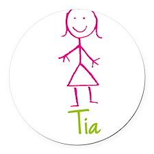 Tia-cute-stick-girl.png Round Car Magnet