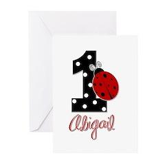 1 Ladybug - ABIGAIL - Birthday Custom Greeting Car