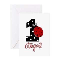 1 Ladybug - ABIGAIL - Birthday Custom Greeting Car