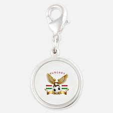 Hungary Football Design Silver Round Charm