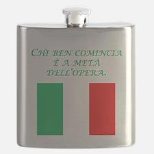 Italian Proverb Good Start Flask