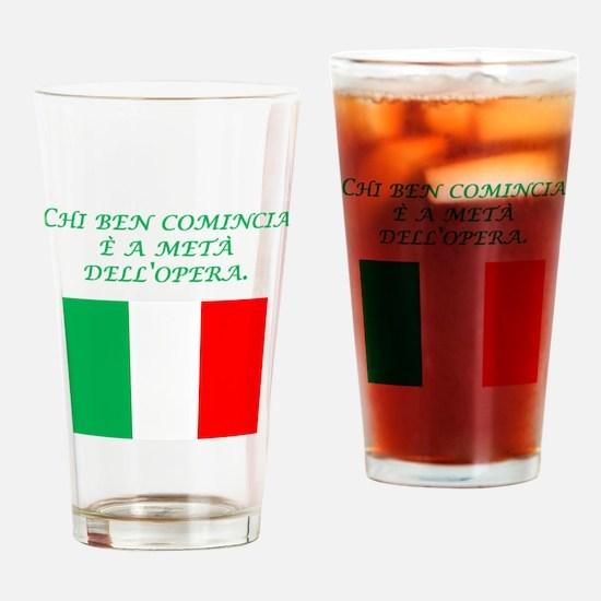 Italian Proverb Good Start Drinking Glass