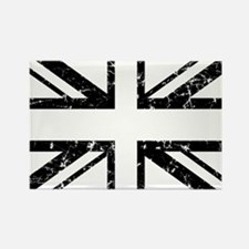 """Black Lines Union Jack"" Rectangle Magnet"