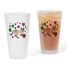 Cat Hearts Love Drinking Glass