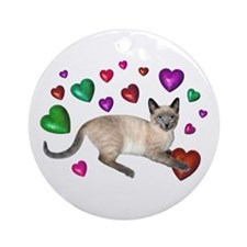 Cat Hearts Love Ornament (Round)