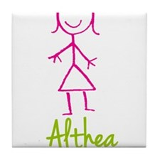 Althea-cute-stick-girl.png Tile Coaster