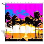 Corey Tiger 80s Palm Trees Island Shower Curtain