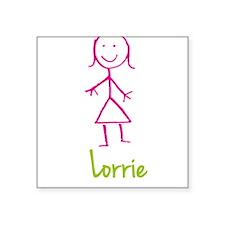 """Lorrie-cute-stick-girl.png Square Sticker 3"""" x 3"""""""