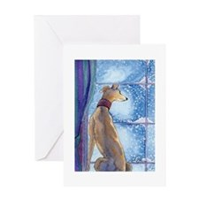 Greyhound watching snow fall Greeting Cards
