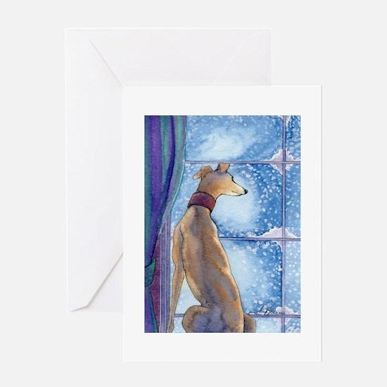Greyhound watching snow fall Greeting Cards