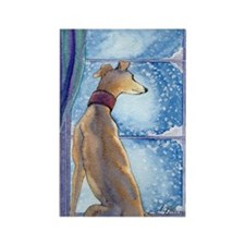 Greyhound watching snow fall Magnets