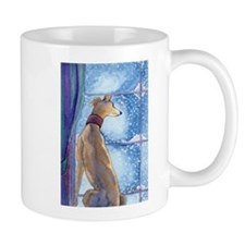Greyhound watching snow fall Mugs