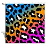 Corey Tiger 80s Neon Leopard Print Shower Curtain