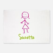 Suzette-cute-stick-girl.png 5'x7'Area Rug