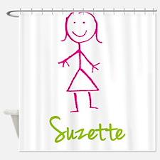 Suzette-cute-stick-girl.png Shower Curtain