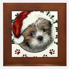 Merry Christmas Shih Tzu with Santa Hat Framed Til