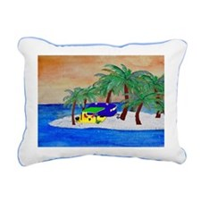 Island Camping Art Rectangular Canvas Pillow