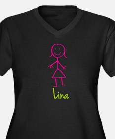 Lina-cute-stick-girl.png Women's Plus Size V-Neck