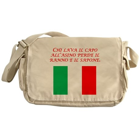 Italian Proverb Head Of An Ass Messenger Bag