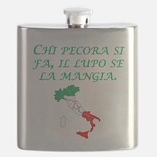 Italian Proverb Sheep Wolf Flask