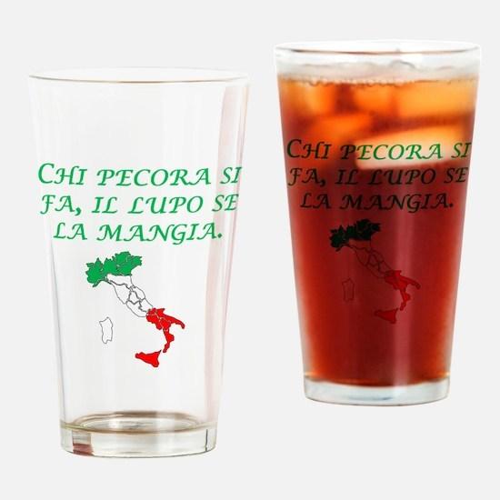 Italian Proverb Sheep Wolf Drinking Glass