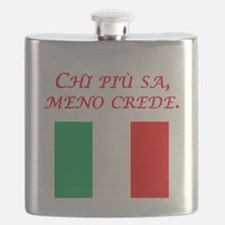 Italian Proverb The More One Knows Flask