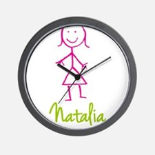 Natalia-cute-stick-girl.png Wall Clock