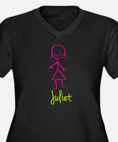 Juliet-cute-stick-girl.png Women's Plus Size V-Nec