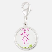 Maryellen-cute-stick-girl.png Silver Round Charm