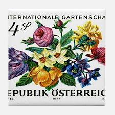 Vintage 1974 Austria Garden Show Floral Stamp Tile