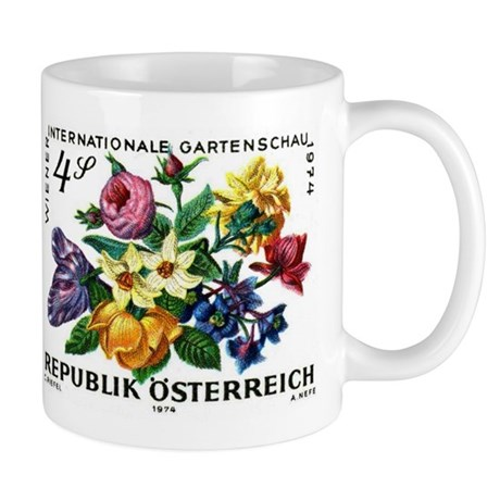Vintage 1974 Austria Garden Show Floral Stamp Mug