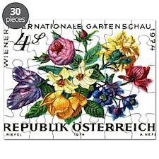Vintage 1974 Austria Garden Show Floral Stamp Puzz
