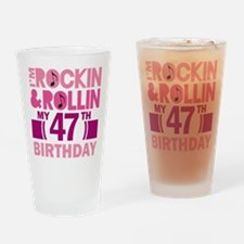 47th Birthday rock and roll Drinking Glass