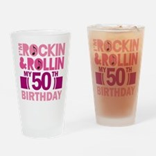 50th Birthday rock and roll Drinking Glass