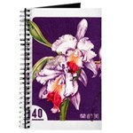 Vintage China Cattleya Orchid Stamp Journal