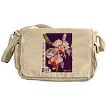 Vintage China Cattleya Orchid Stamp Messenger Bag