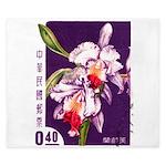 Vintage China Cattleya Orchid Stamp King Duvet
