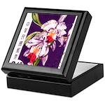 Vintage China Cattleya Orchid Stamp Keepsake Box