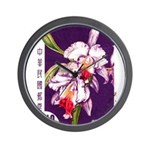 Vintage China Cattleya Orchid Stamp Wall Clock