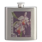 Vintage China Cattleya Orchid Stamp Flask