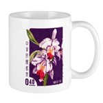 Vintage China Cattleya Orchid Stamp Mug